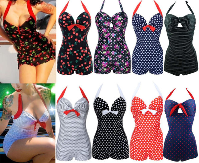Women Vintage Retro Bikini One Piece Push-up plus size Swimsuit Bathing Monokini
