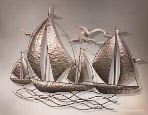 XL Wall Sculpture Sailing Regatta Sailing Boats Maritime Wall Picture Metallic Tones Yacht