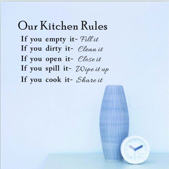 DIY Kitchen Rules Wall Quote Sticker Art Vinyl Decal Home Decor Sticker Words FS