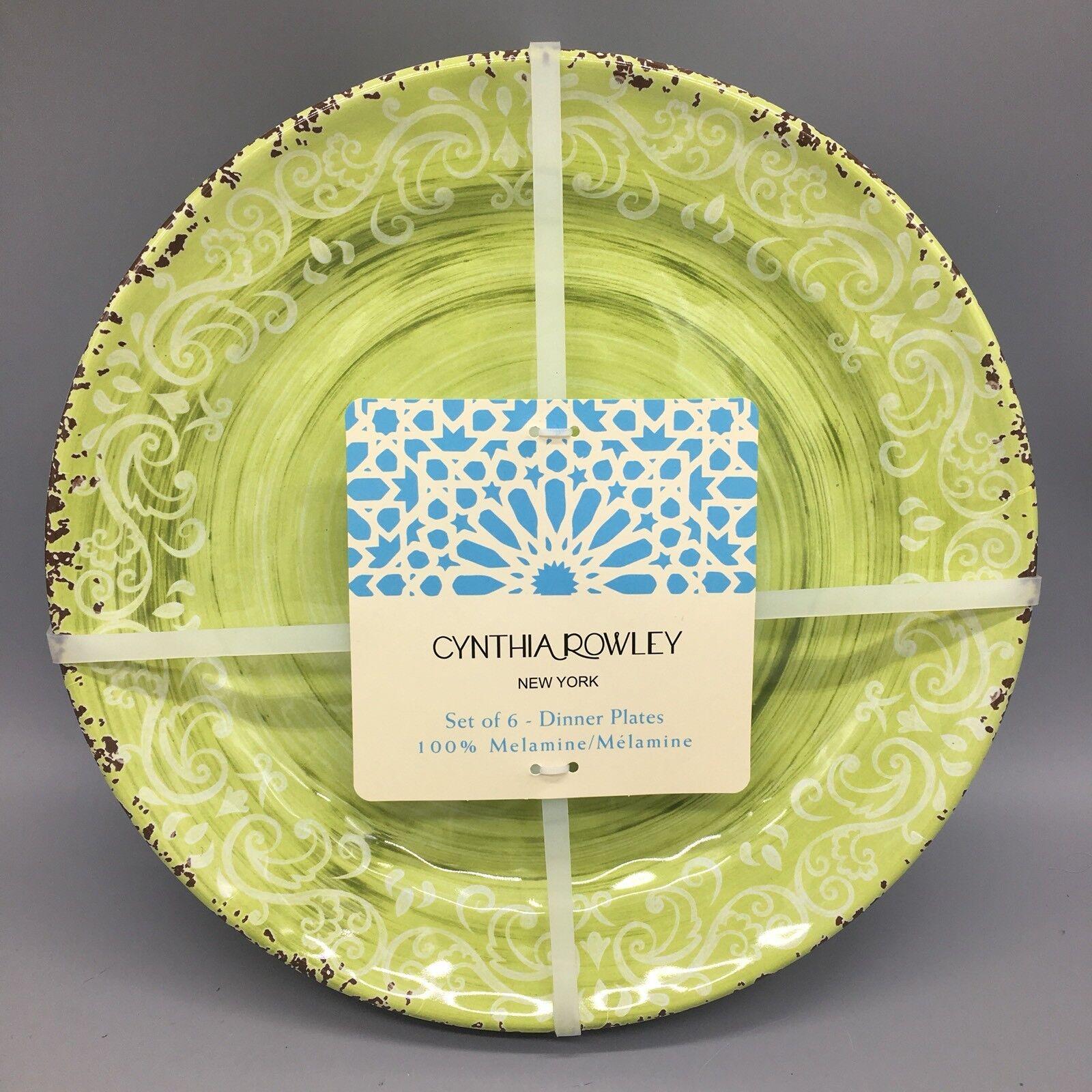 X6 Cynthia Rowley Melamine Dinner Plate Set Lime Grün Rustic Medallion Tuscan