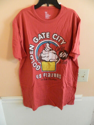 "NWT GAP men red t-shirt w///""golden gate city; 49 flavors/"" /& a cupcake; size L"