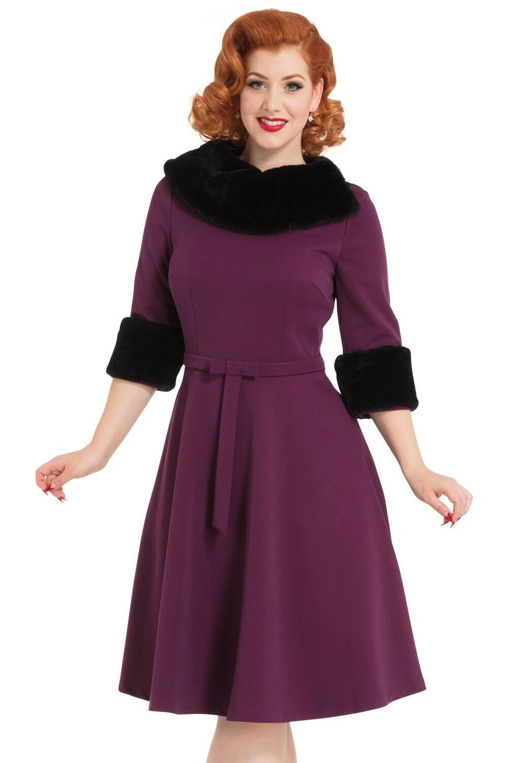 VOODOO VIXEN NWT 50's 60's Style lila schwarz Fur Fit Flare Rockabilly Dress 8
