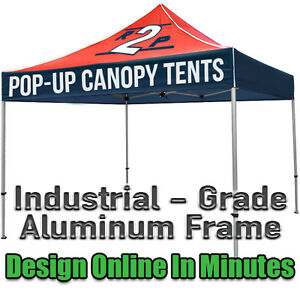 Image is loading 10x10-Custom-Printed-Ez-Up-Style-Pop-Up-  sc 1 st  eBay & 10x10 Custom Printed Ez Up Style Pop Up Tent w/ Roller Bag u0026 FREE ...