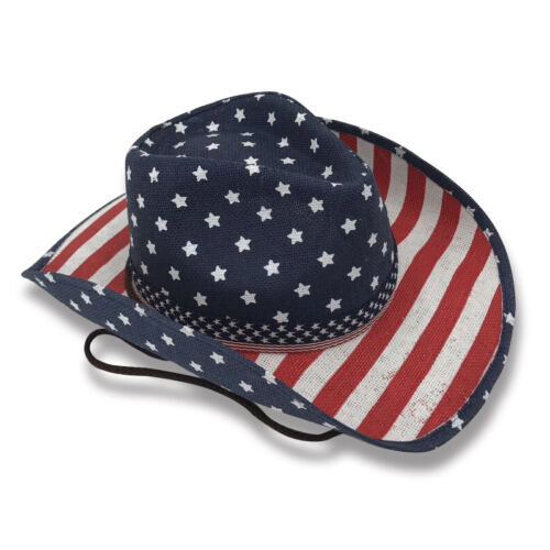 Cowboy Cowgirl Hat USA American Flag Stars Stripes Rodeo Western One Size Child