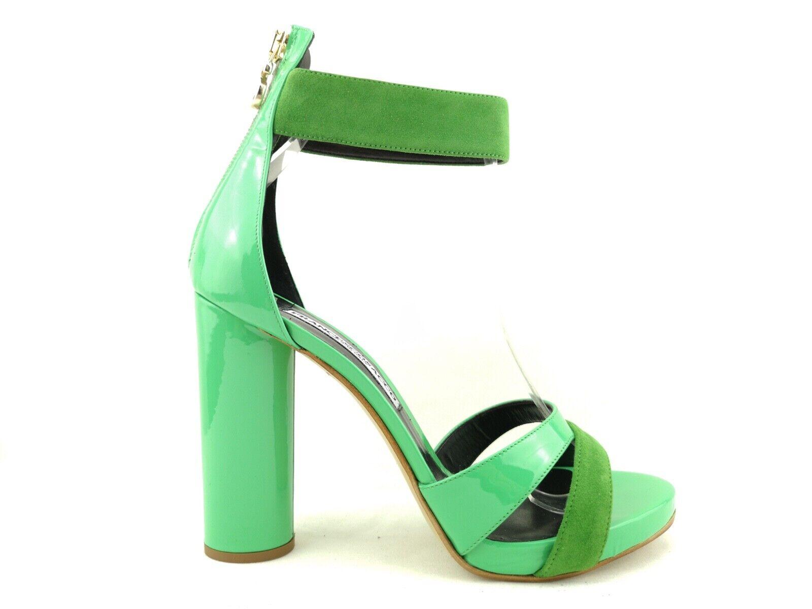 E19-FRS1 Chaussures Femme 39 Escarpins Sandale Francesco Sac Vert Cuir Made
