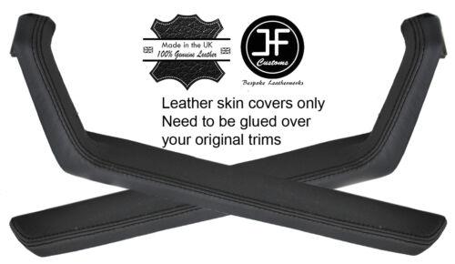 BLACK STITCH 2X DOOR HANDLE ARMREST TRIM LEATHER COVERS FITS PORSCHE 924 944
