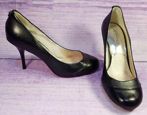 Michael-Kors-Black-Leather-Womens-Pumps-Heels-Round-Toe-Silver-Grommets-Size-8-M