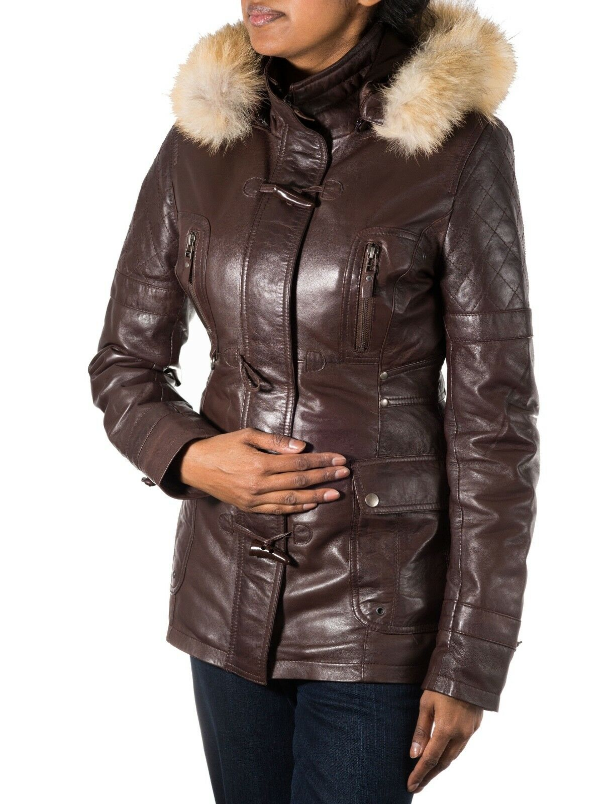 Womens Brown Sheepskin Leather Hooded Duffle Coat with Horned Toggle Buttons
