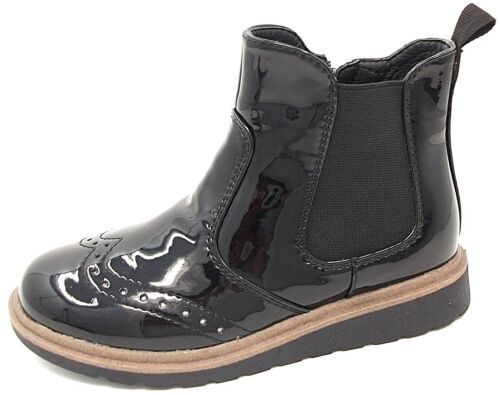 Girls Chatterbox BONNIE Brogue Ankle Zip Patent Boot Black,Navy Blue size 8 to 2