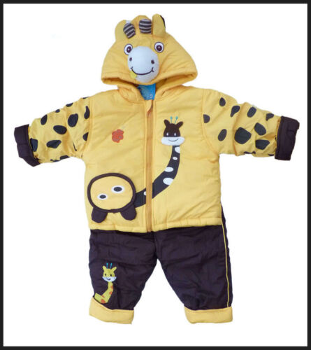 BABY BOY GIRL 2PC GIRAFFE PADDED SNOWSUIT WINTER OUTFIT JACKET TROUSERS 6 12 18m