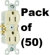 50 ea Pass & Seymour Standard 3 Wire 15A 125V 2 Pole UL Ivory Duplex Outlets