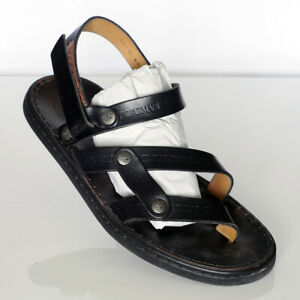 Emporio-Armani-Men-039-s-Black-Leather-Sandals-Sz-10