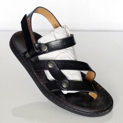 Emporio Armani Men's Black Leather Sandals Sz 10 - image 1