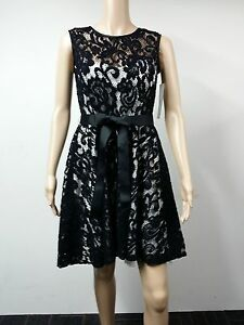 NEW-to-AUS-Betsy-amp-Adam-Size-4-Sleeveless-Belted-Lace-Dress-Black-179