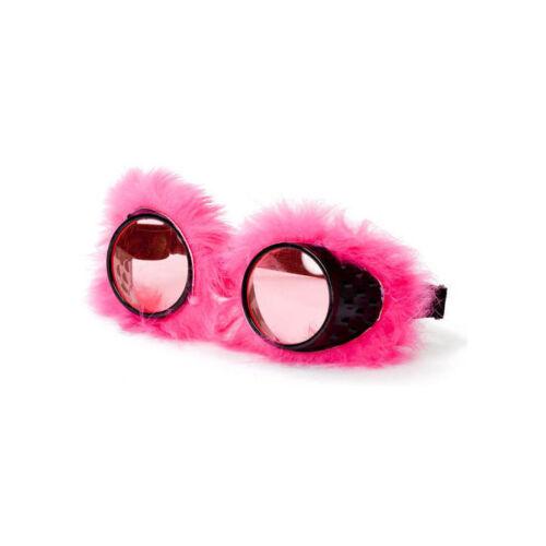 Stoffbrille Karneval Kostümzubehör Spiegelgläser Brille mit pinkem Plüsch