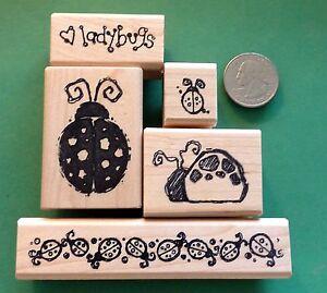 Image Is Loading Ladybug Lover 039 S Rubber Stamp Set Of