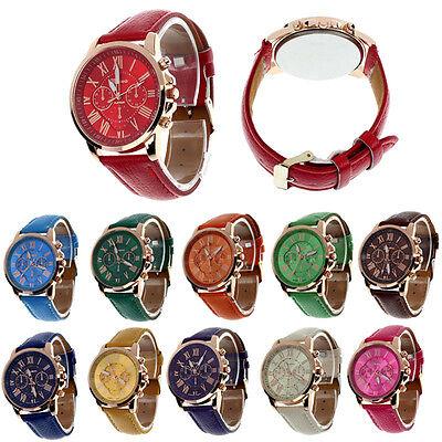 Fashion Roman Numerals Faux Leather Analog Quartz Women Wrist Watch Xmas Gift