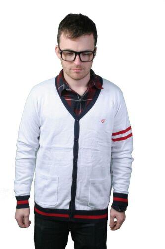 Orisue Renson V-Neck Button Down Cardigan in white//red//black