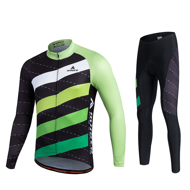 Twill Men's Cycling Long  Kit Reflective Cycling Jersey Long Sleeve Pants Set  popular
