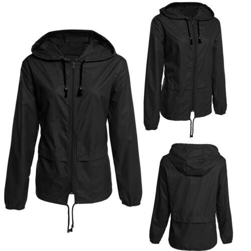 Women Lady Rain Jacket Outdoor Plus Waterproof Hoodie Raincoat Windproof Outwear