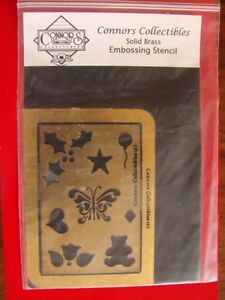 Connors Embossing Stencil Solid Brass Basket With Flower  NEW