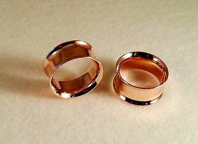 """New Surgical Steel Double Flared Anodized Rose Gold Plugs Sizes:( 2 g to 1""""inch)"""