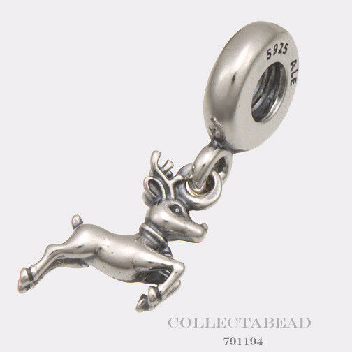 Authentic Pandora Sterling Silver Dangle Reindeer Bead  791194
