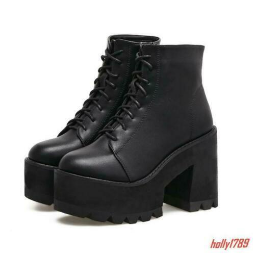 Goth Punk Womens Platform Chunky High Heels Ankle Boots Lace Up Shoes Pumps New