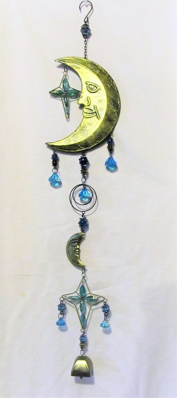 Moon & Stars metal wind chime with acrylic jewels yard or porch celestial decor