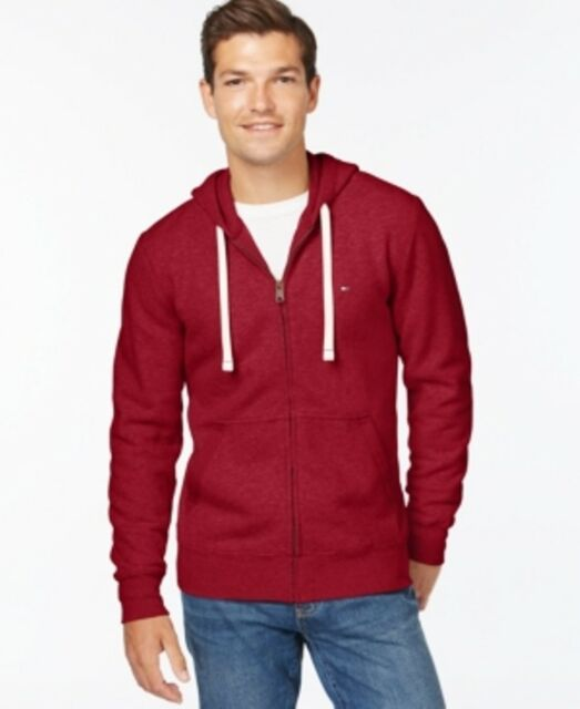 Tommy Hilfiger Plains Zipped Front Drawstring Hoodie Red Mens Size XXL New
