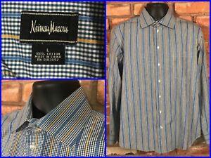 Neiman-Marcus-Gingham-Plaid-Striped-Spread-Collar-Dress-Shirt-Mens-Lg-MODERN