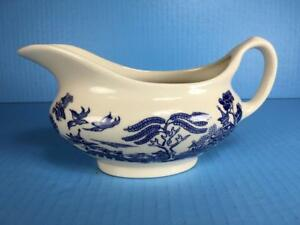 Old-Willow-English-Ironstone-Tableware-England-Blue-amp-White-Gravy-Boat-Pitcher