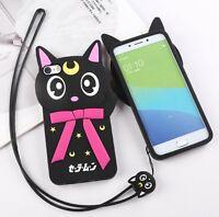 3D Cute Luna Cat Soft Silicone Case Cover Back Skin For iPhone 5 SE 6 7 Plus