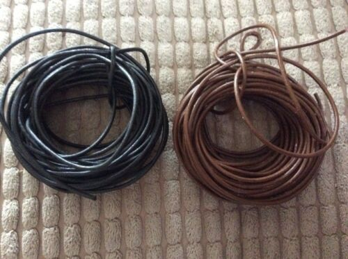 1.5 Mm Real Leather Cord Black And Brown 10 Meters 5 Meters Of Each
