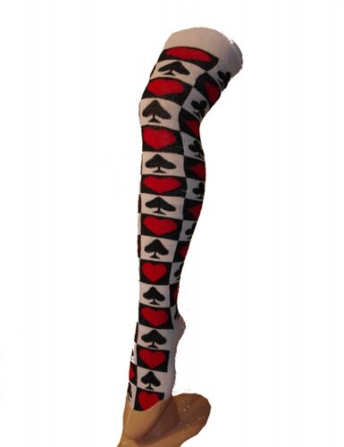Playing Card Print Over Knee The Sock//Fancy Dress//Alice in wonderland