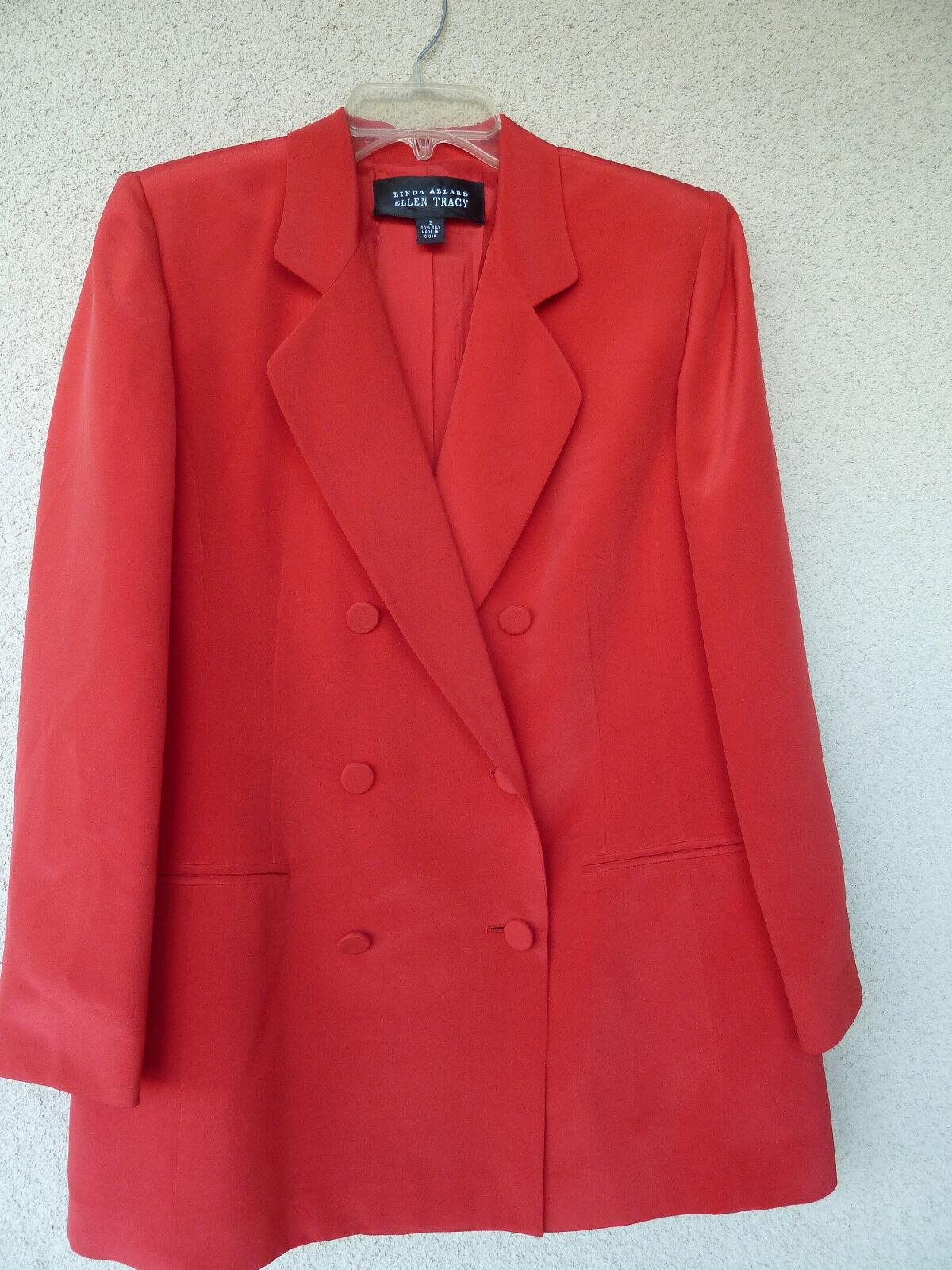 Ellen Tracy Fire Engine Red Silk Silk Silk Pant Suit  12 8 a16b2c