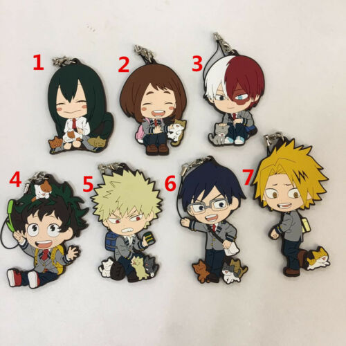 T968 Anime Boku no hero Academia caoutchouc KeyChain porte-clés bretelles RARE Cosplay