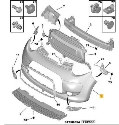Passenger Side Front Bumper Bracket N//S Left 2005-2014 Models Citroen C1