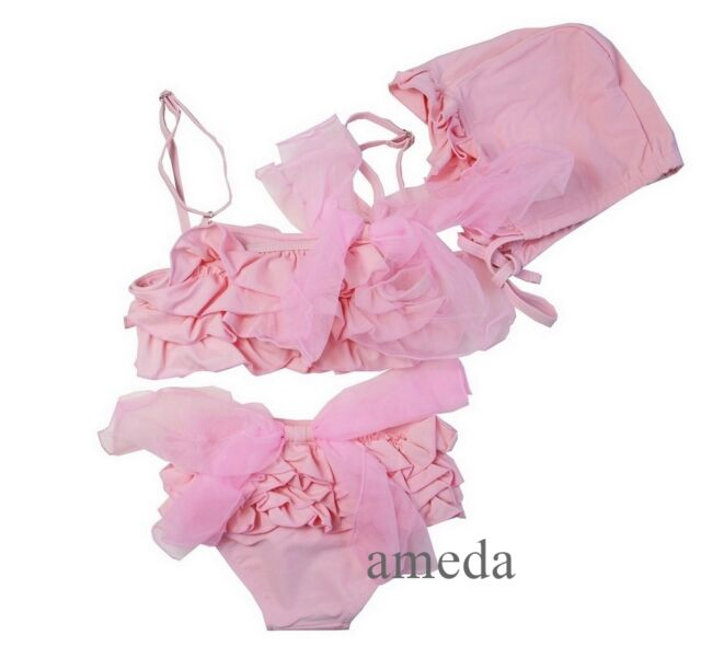 Girls Light Pink Ruffles Bow Tutu Bikini Swimsuit Swimwear Hat 3pcs Set 1-6Y