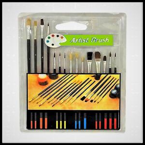 Flat Set Paint Brush 15 Piece Style Art ,Oil Watercolor Acrylic !Free-Shipping!