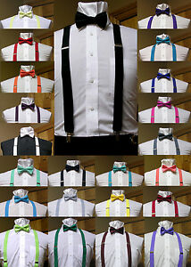 Men-039-s-clip-on-suspenders-x-back-and-Bow-Tie-Retro-Steampunk-Costume-Tux-Prom