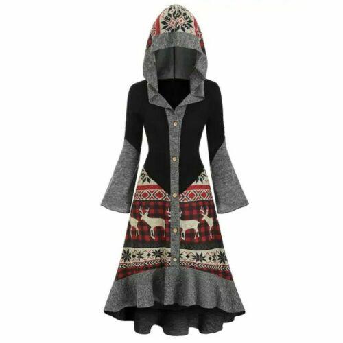 Womens Plus Weihnachten Elch Kapuzen High Low  Saum gestrickte Kleid Übermantelu