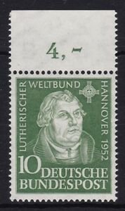 Bund-149-OR-sauber-postfrisch-Oberrand-BRD-Martin-Luther-1952-MNH