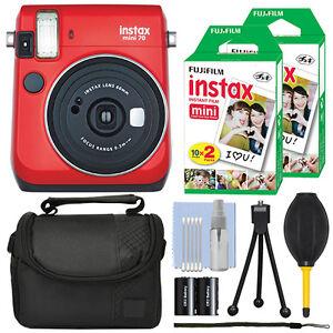 Fujifilm Instax Mini 70 Fuji Instant Film Camera Red + 40 Film Bundle