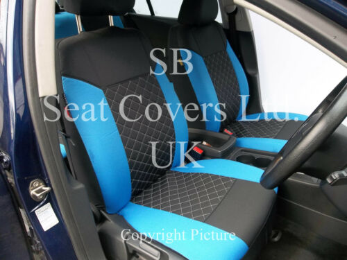TO FIT A FORD RANGER CAR i FULL SET BLACK//BLUE DIAMOND SEAT COVERS