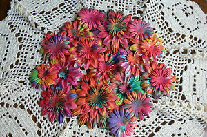 BATIK-BRIGHTS-Mixed-Size-22-95mm-GERBERA-DAISY-PETALS-Paper-26-Pack-GreenTara