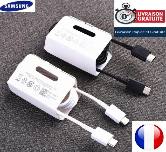 Cable Usb-C Original Samsung Note10/S10/S9/S20 Noir/Blanc 3A EP-DG977