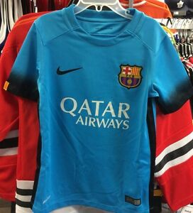 timeless design 09cc3 fa6f3 Details about Team FC Barcelona Authentic Light Blue Jersey Royal Soccer XS  Football Youth