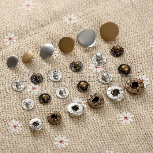 50Pcs Metal Press Studs Sewing Buttons Snap Snap Fasteners Bronze DIY Craft