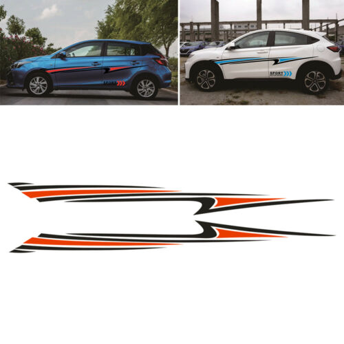 2X Stream-line Sport Car Vinyl Graphic Car Body Stripe Decal Sticker Waterproof